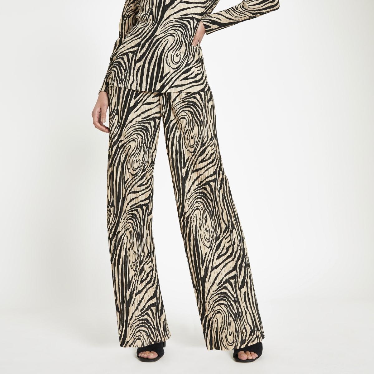 Pantalon large plissé à imprimé zèbre crème