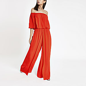 Red bardot wide leg jumpsuit