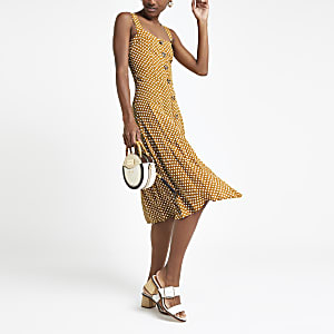 Yellow spot button bodice midi dress