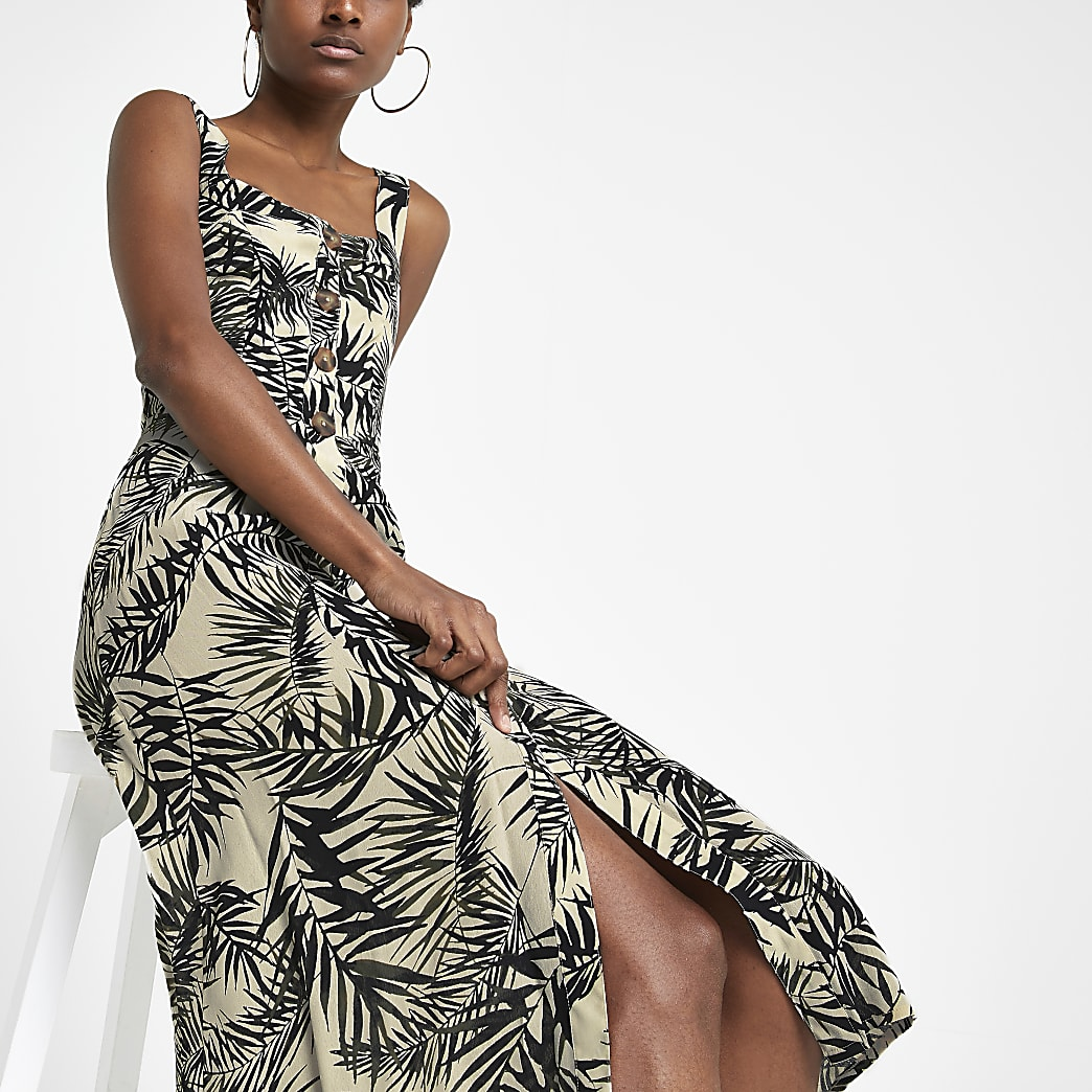 Green print button front midi dress