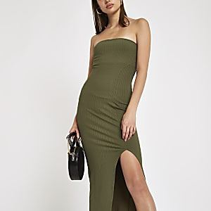 Khaki ribbed split front bandeau maxi dress