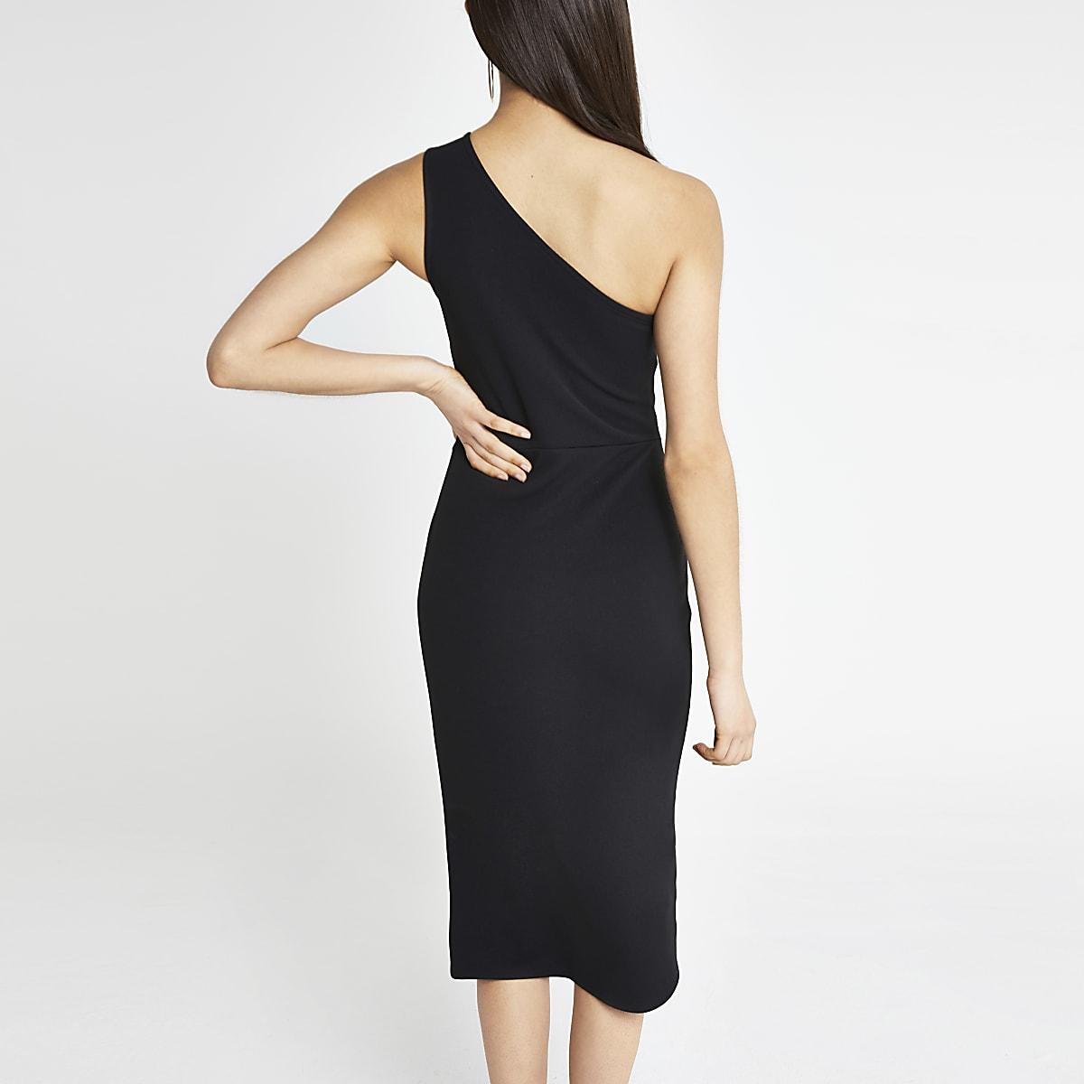 8a60122398c Black one shoulder rib bodycon dress - Bodycon Dresses - Dresses - women
