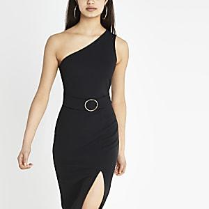 Robe ajustée noire asymétrique côtelée