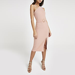 Pink one shoulder rib bodycon dress