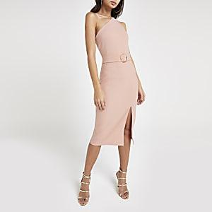 Robe ajustée rose asymétrique côtelée