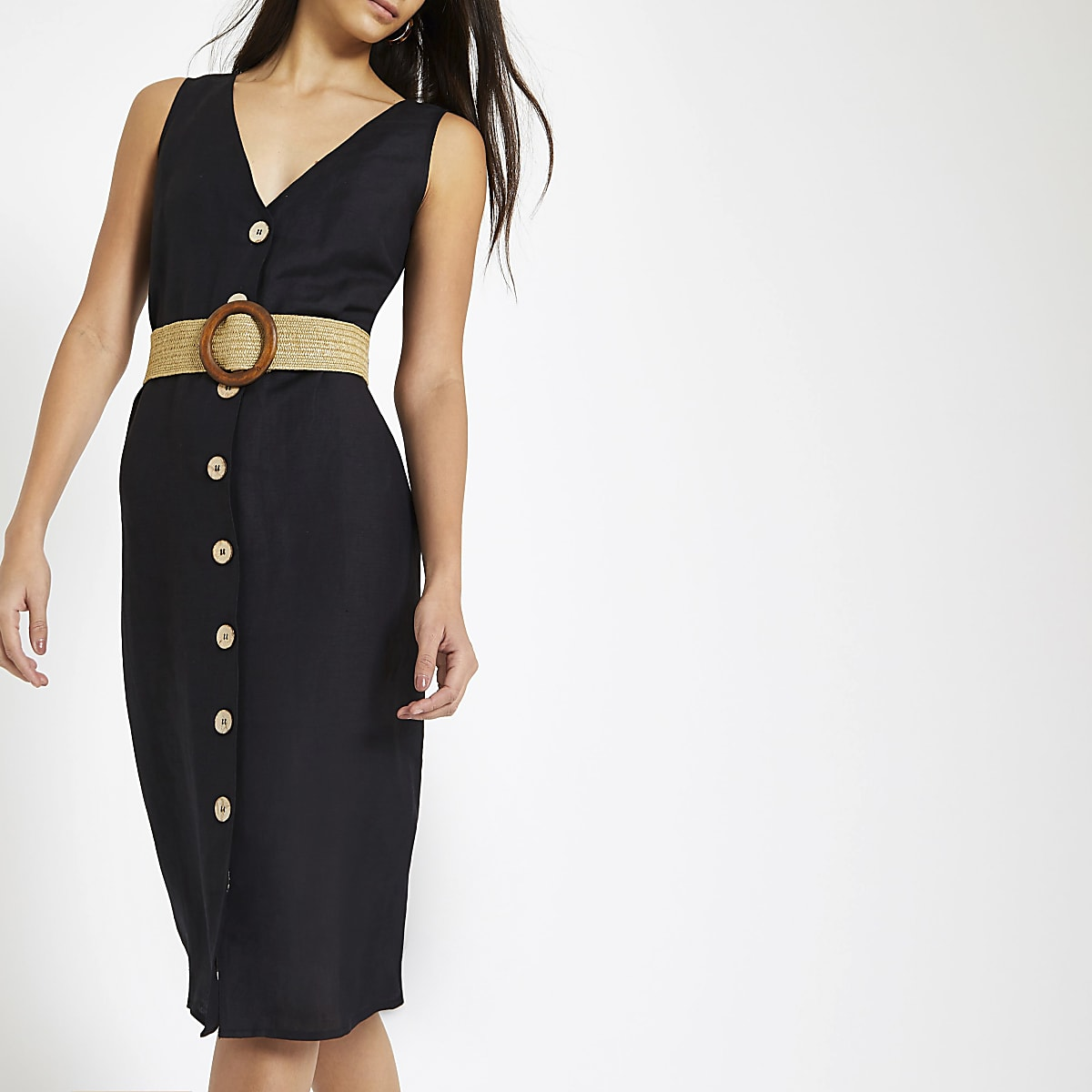 Zwarte linnen midi-jurk met knopen voor en ceintuur