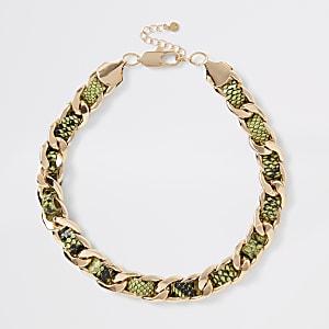 Neongrüne, schwere Halskette in Schlangenlederoptik