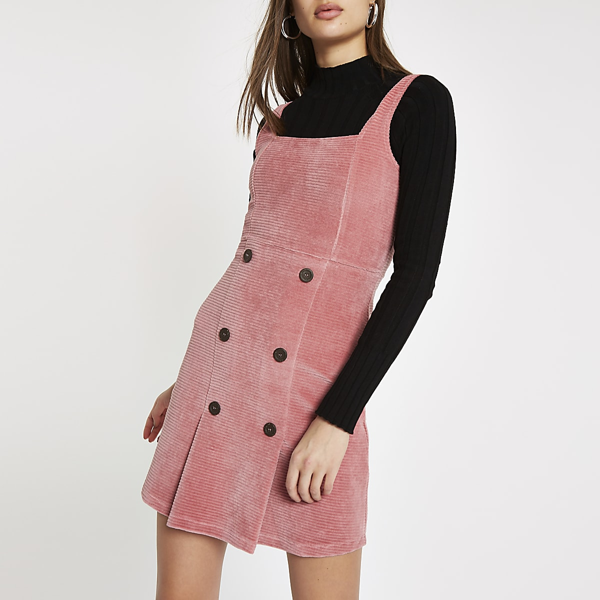 Pink button front cord pinafore dress