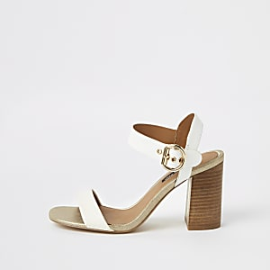 White two part block heel sandals