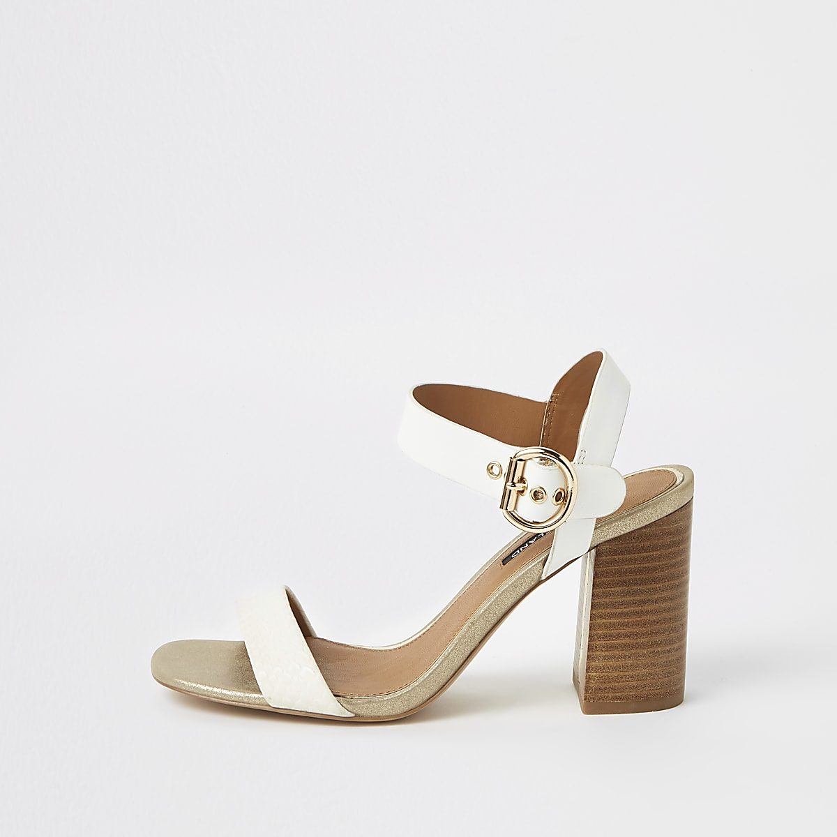 Two Block White Sandals Part Heel KlcTF1J