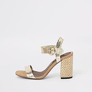 d2c7140c03fb Gold two part block heel sandals