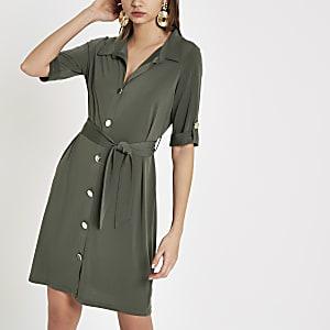 Khaki long sleeve jersey shirt dress