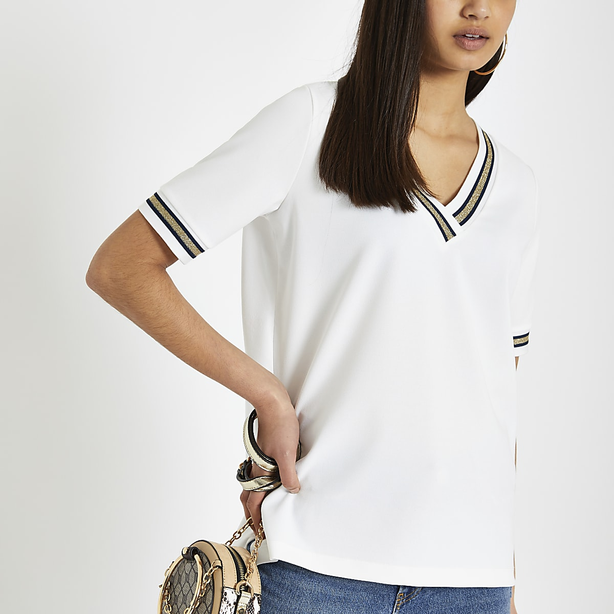 7c2697a3 White tipped v neck loose fit T-shirt - T-Shirts - Tops - women
