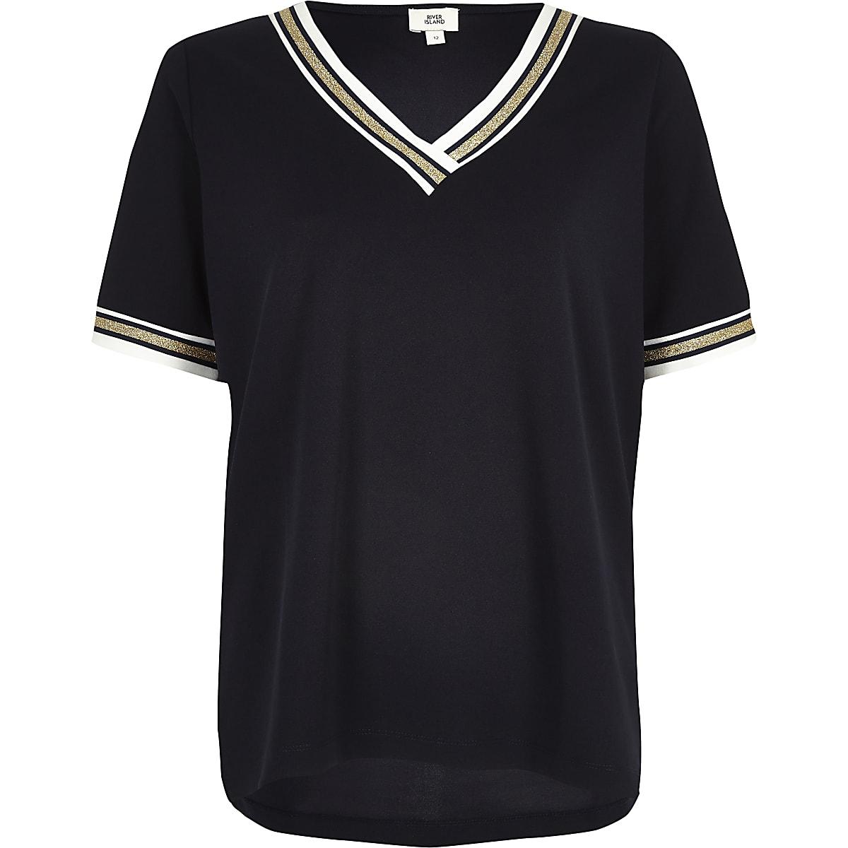 693e01bb Navy tipped v neck loose fit T-shirt - T-Shirts - Tops - women