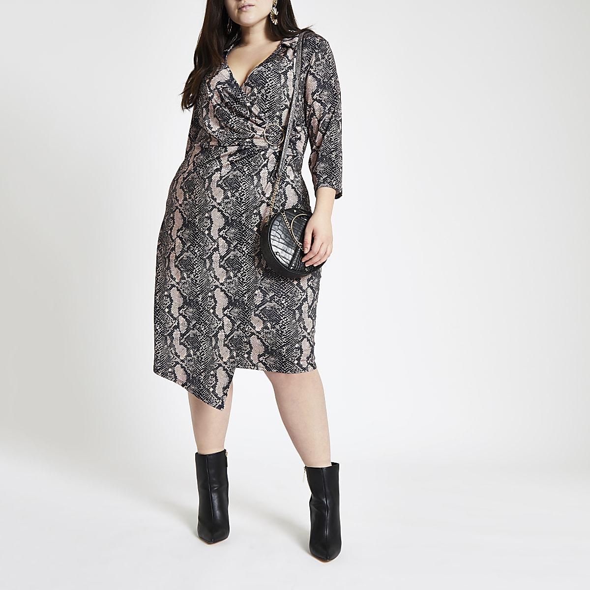 Plus pink snake print wrap midi dress