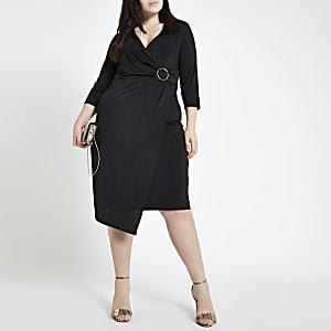Plus – Robe portefeuille mi-longue noire