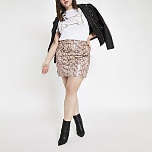 Plus – Mini-jupe en cuir synthétique à imprimé serpent rose