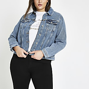Plus mid blue denim jacket