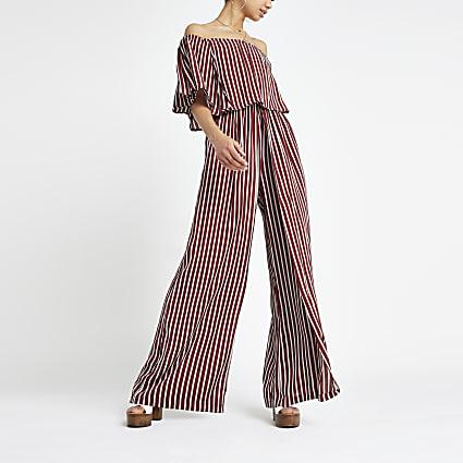 Red stripe bardot jumpsuit