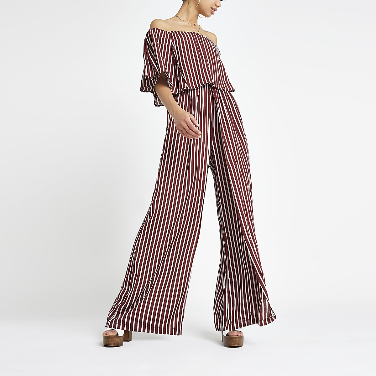 Red stripe bardot jumpsuit
