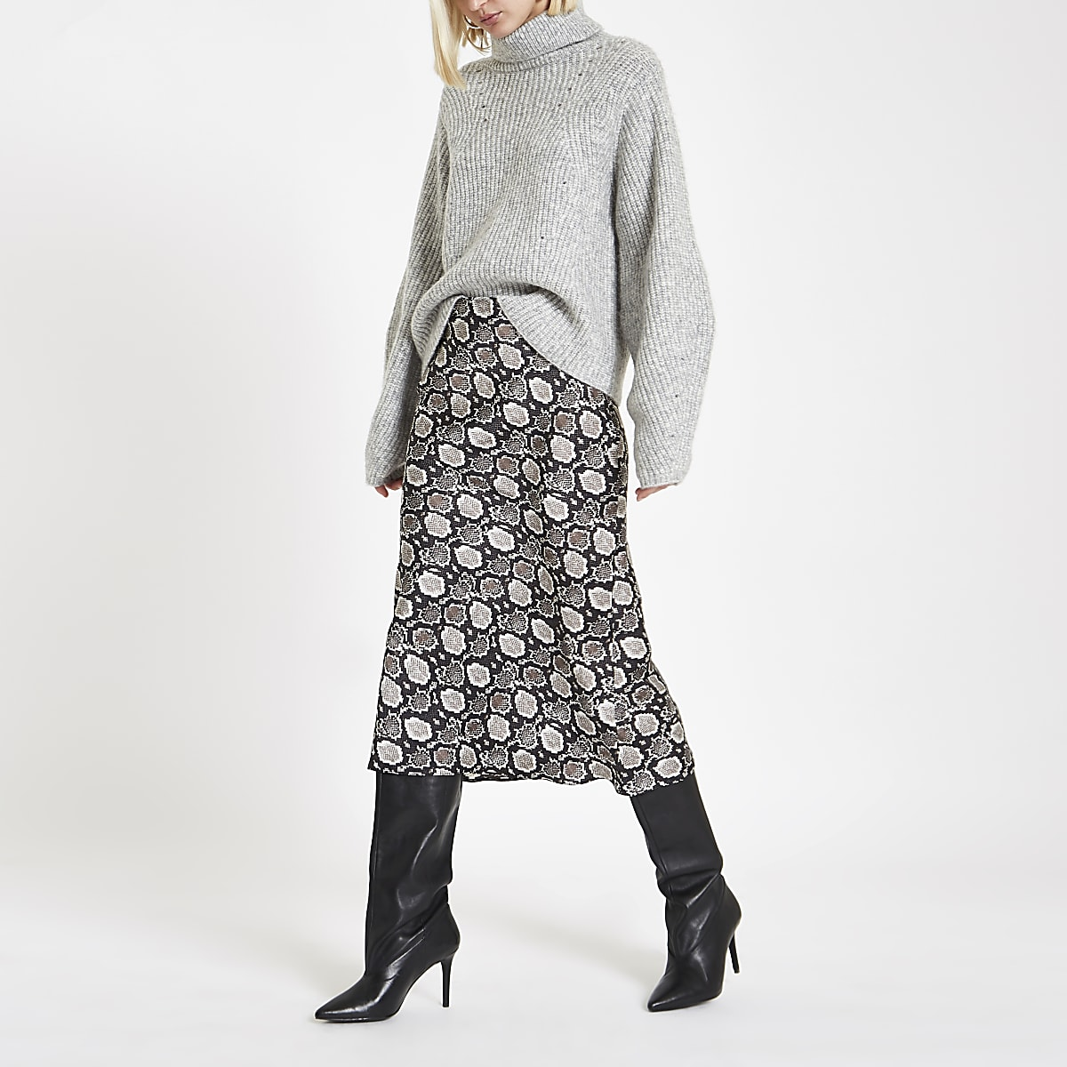 Black snake print bias cut midi skirt