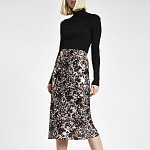 Rust leopard print  bias cut midi skirt