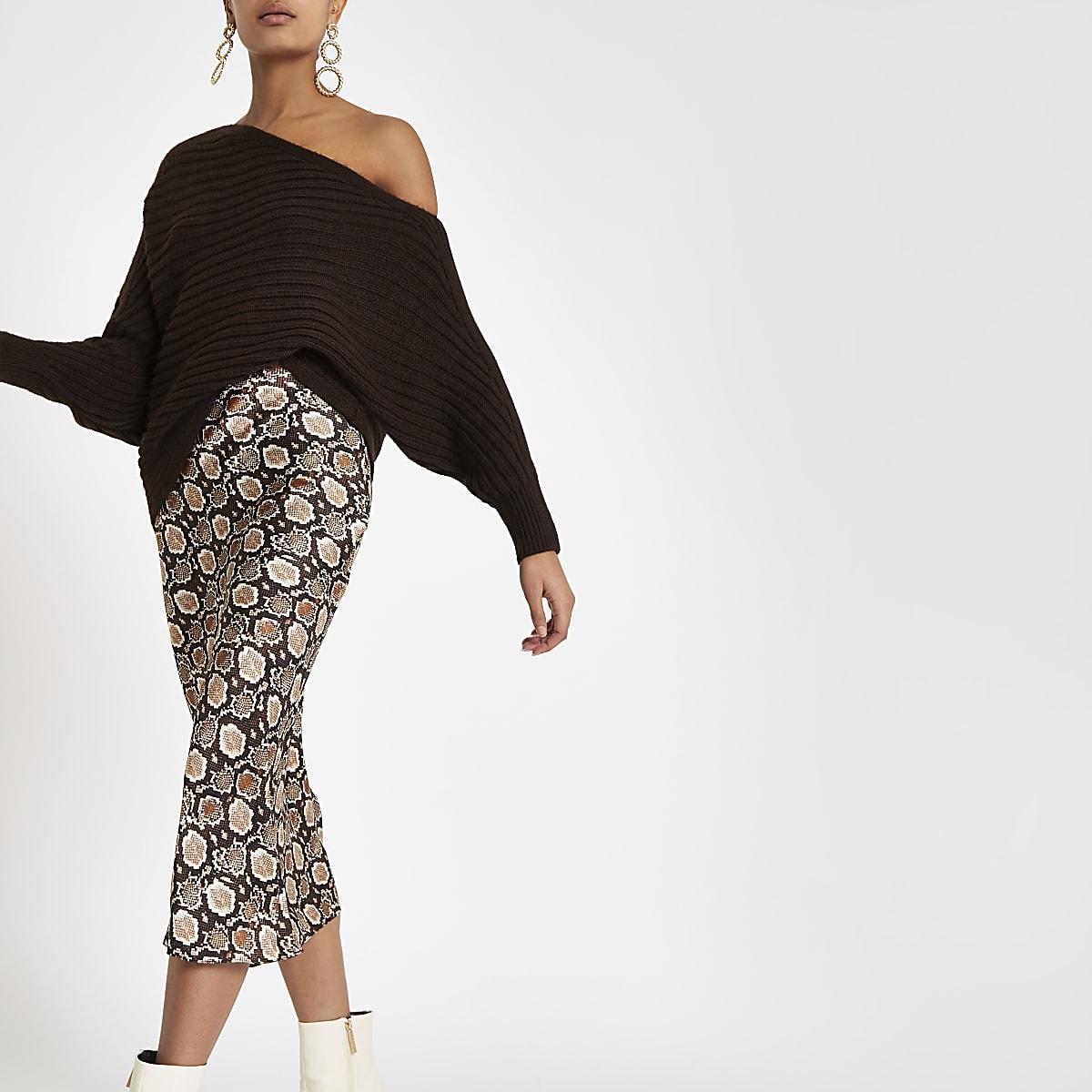 Brown snake print bias cut midi skirt