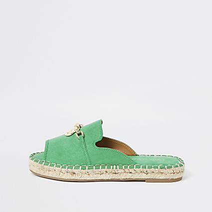 Green espadrille peep toe sandals