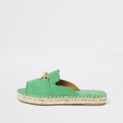 Green espadrille peep toe sandals