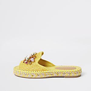 Gele espadrille-sandalen met siersteentjes