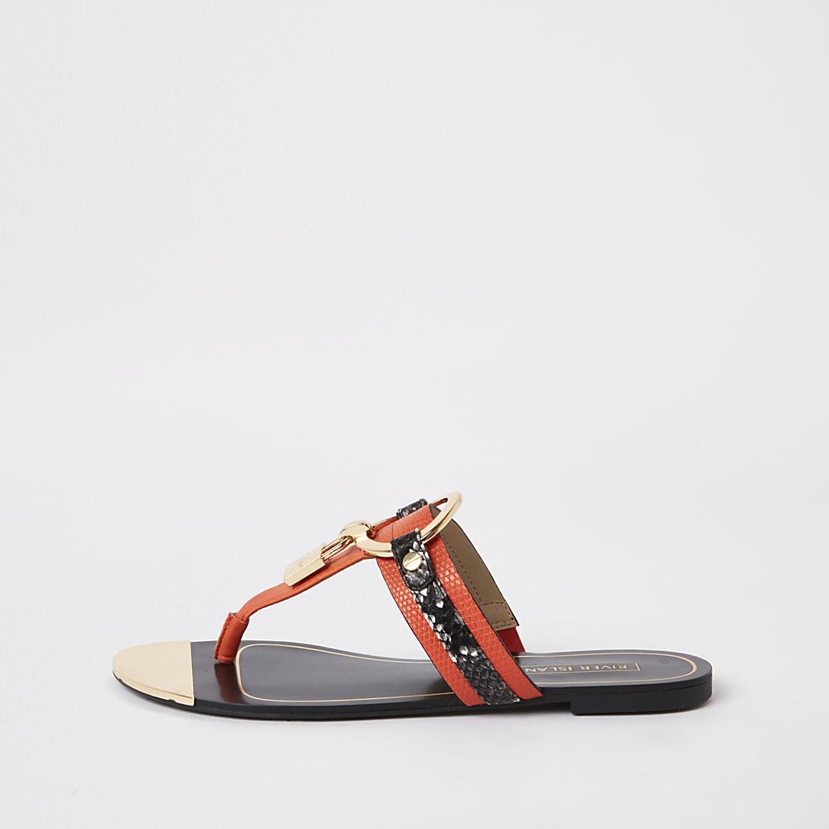 Orange padlock sandals