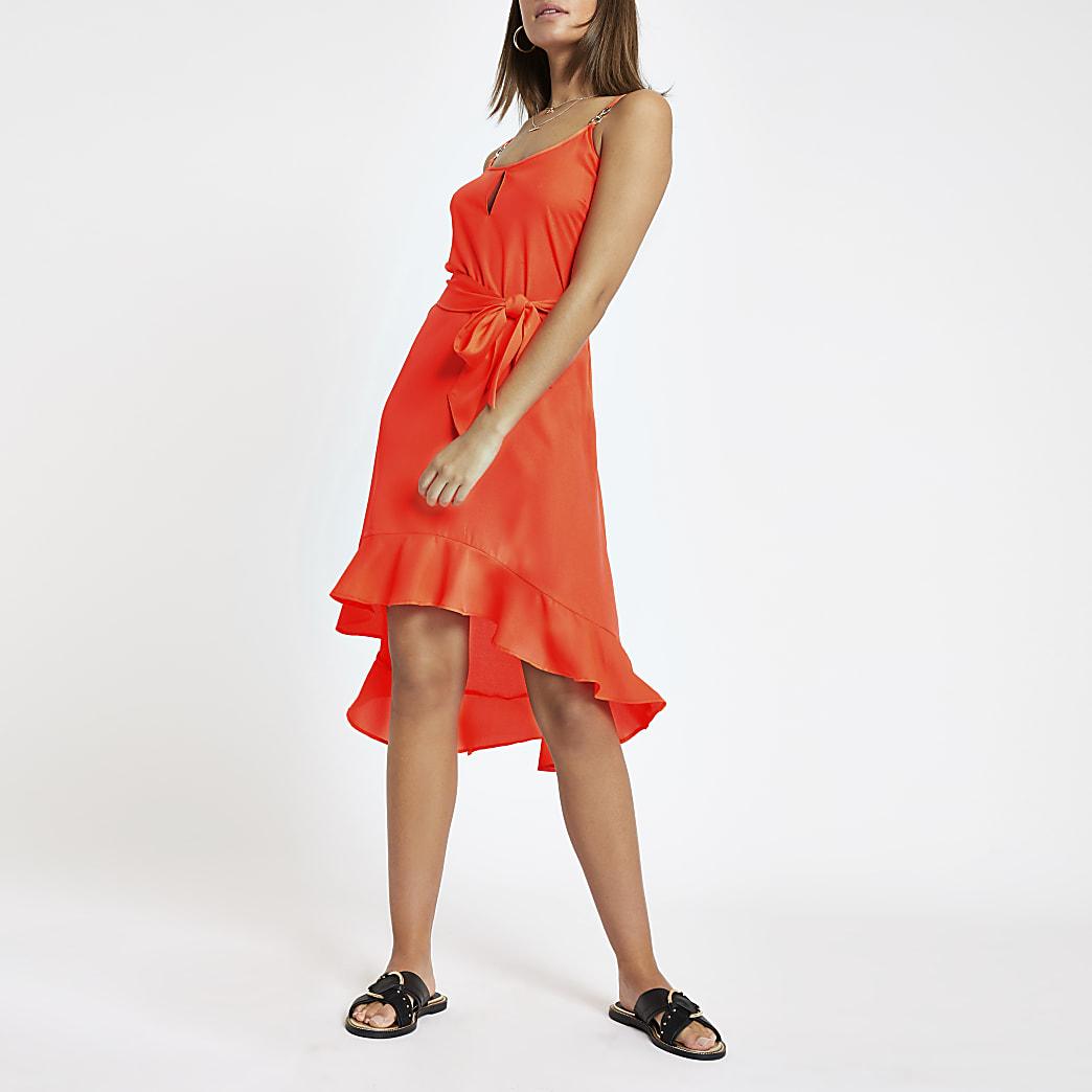 Neon pink tie waist beach dress