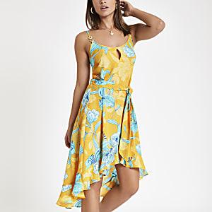 Yellow floral print midi beach dress