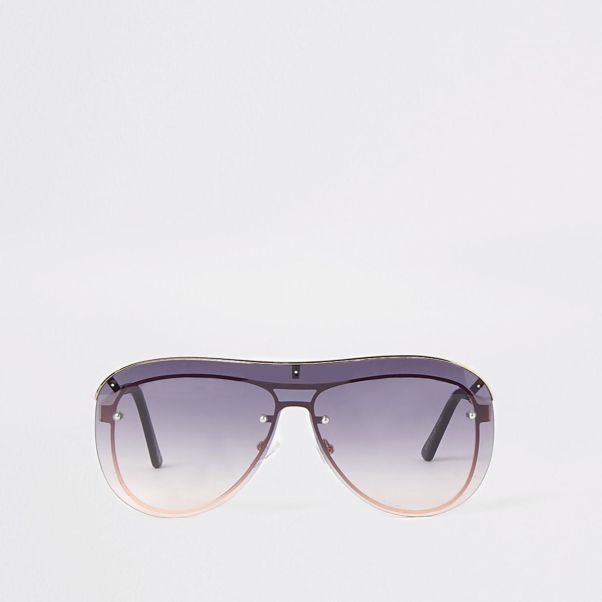 Gold tone visor smoke lens sunglasses