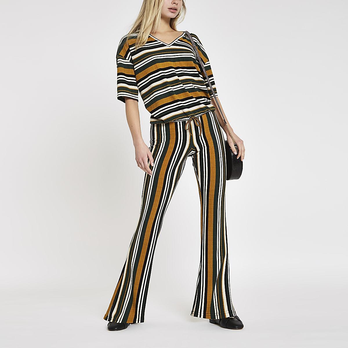 Pantalon large rayé kaki