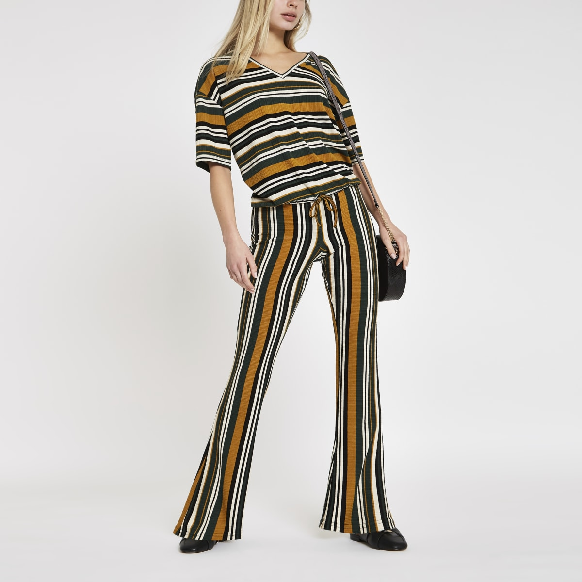 Khaki stripe wide leg trousers