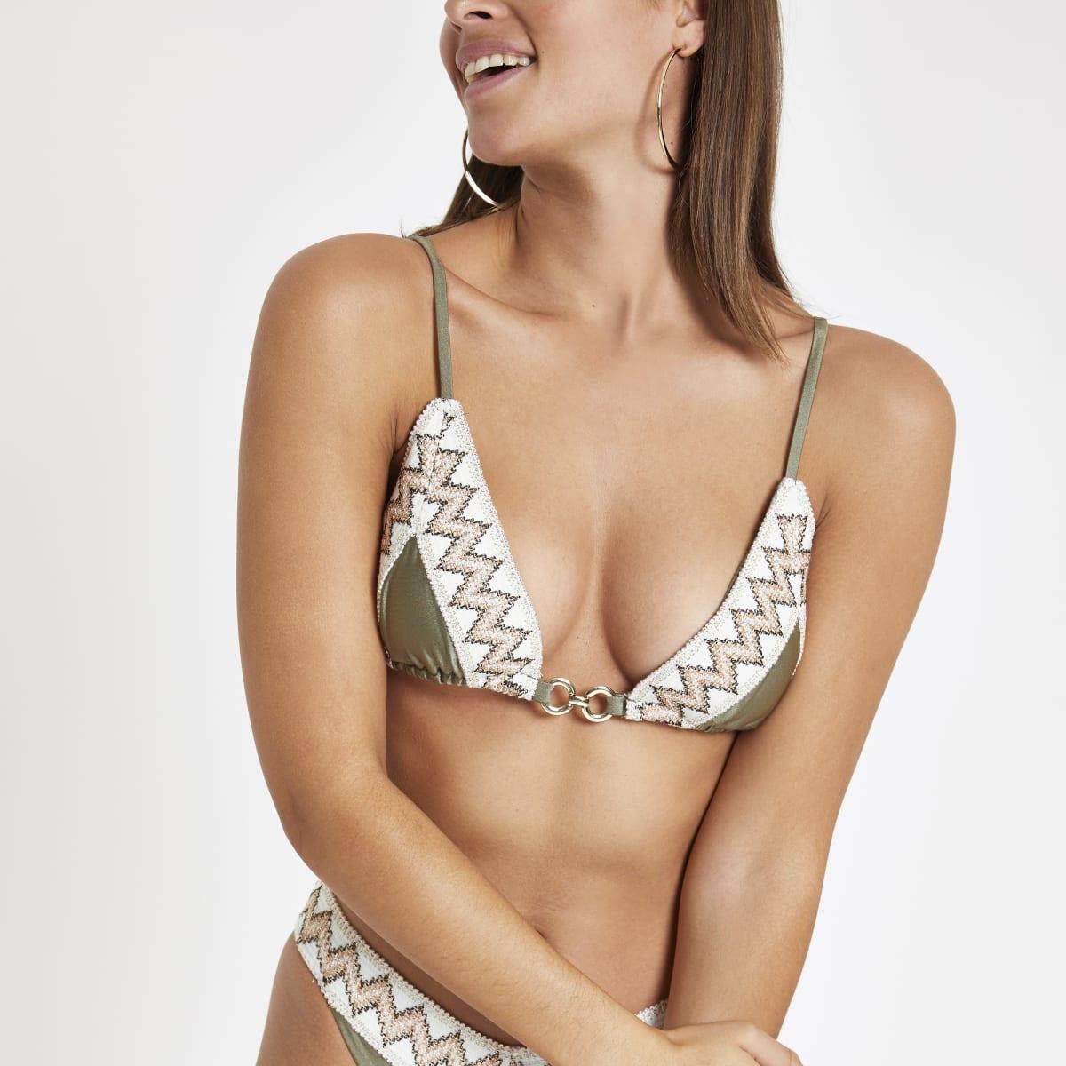 Khaki elastic trim triangle bikini top