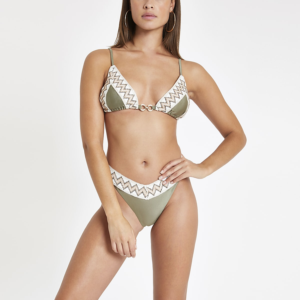 Khaki elastic trim high leg bikini bottoms