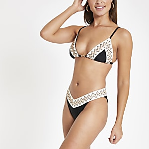Black elastic trim high leg bikini bottoms