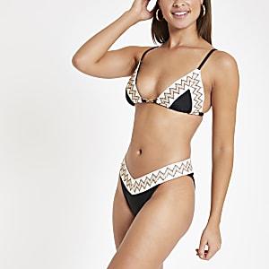 Black elastic trim high leg bikini bottoms