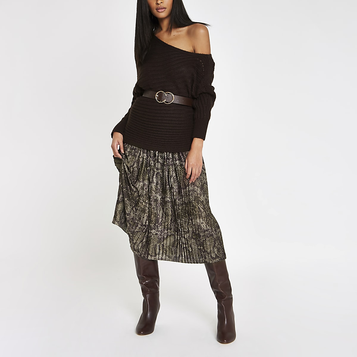 Khaki snake print pleated midi skirt