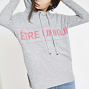 Grey 'Etre unique' knitted hoodie