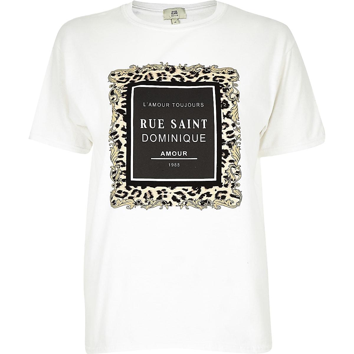 Petite white 'Rue Saint' flock print T-shirt