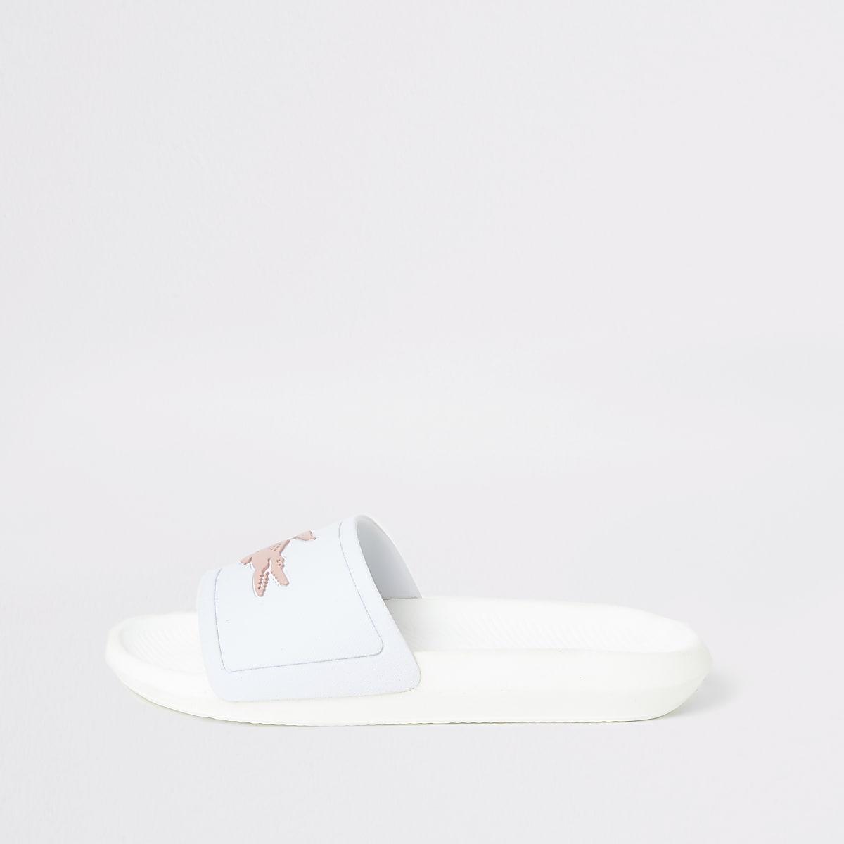 Lacoste white Croco sliders