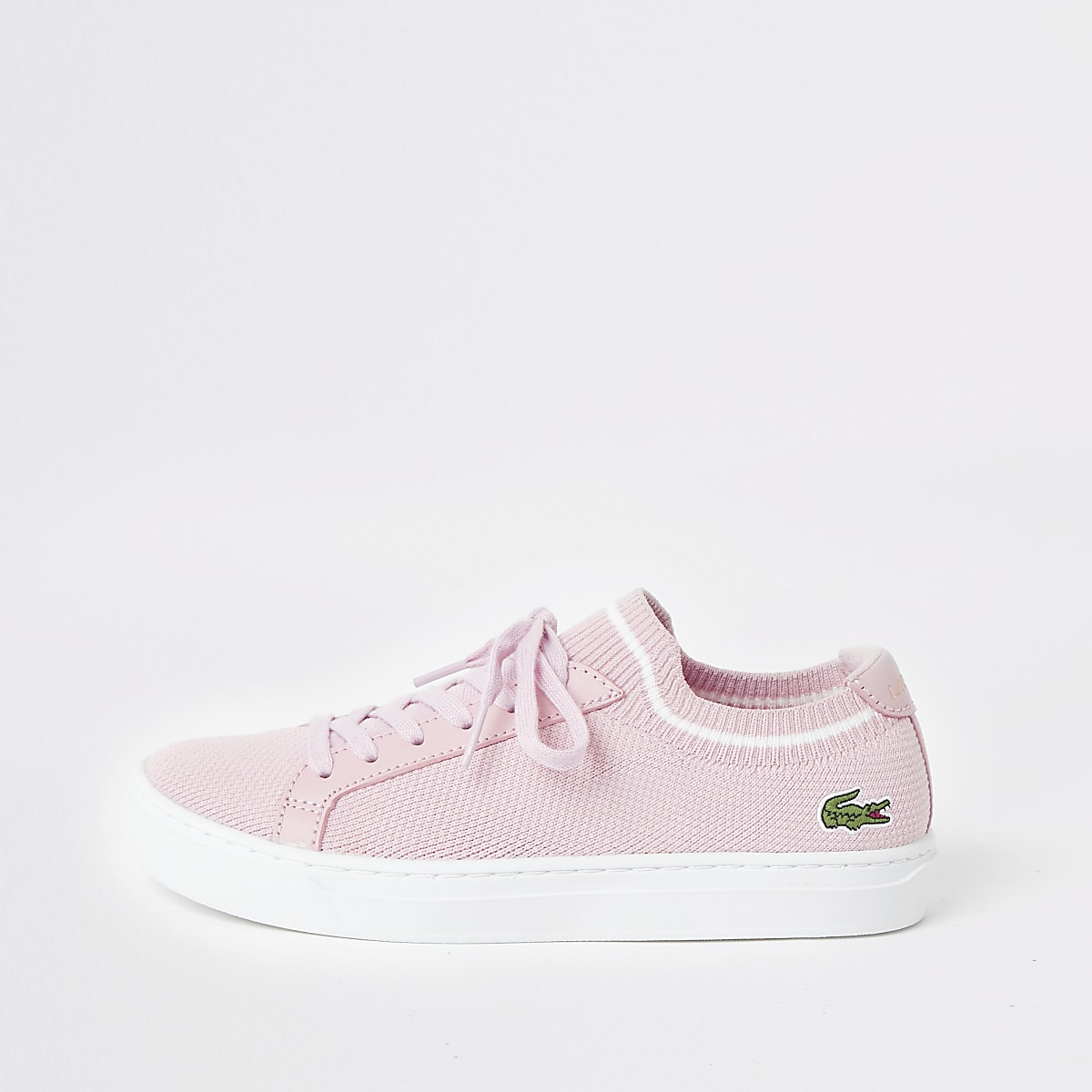 Lacoste pink la piquee lace-up trainers