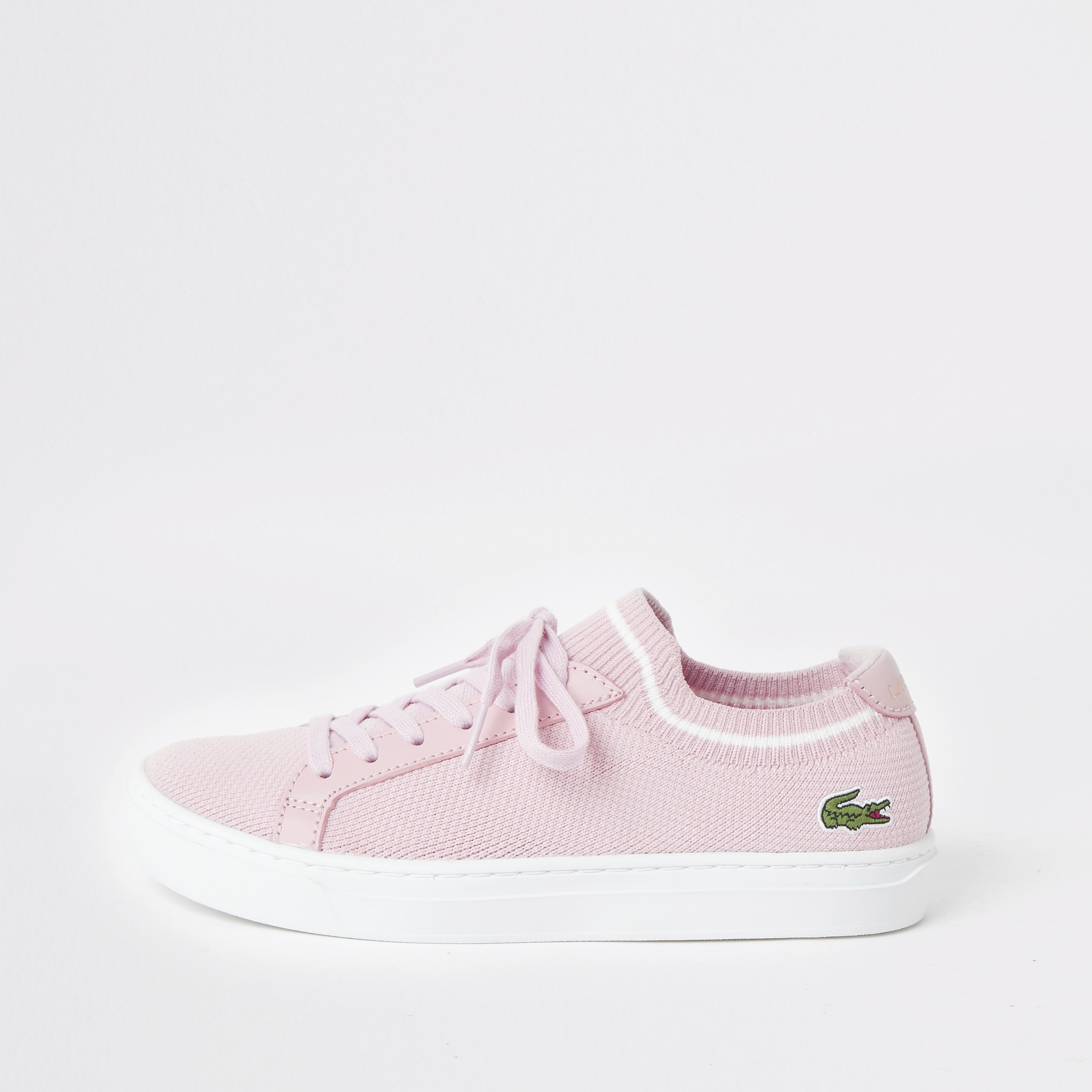 LACOSTE | Womens Lacoste Pink La Piquee Lace-Up Trainers | Goxip