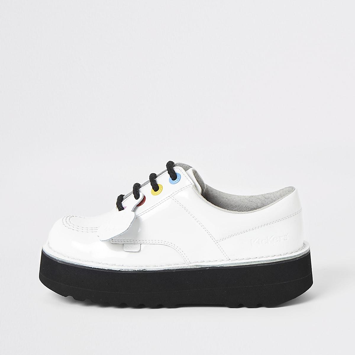 Kickers Lo Stack - Witte leren schoenen