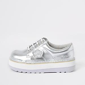 Kickers Lo Stack - Zilverkleurige leren schoenen