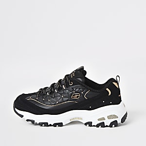 Skechers black glam lace up trainers