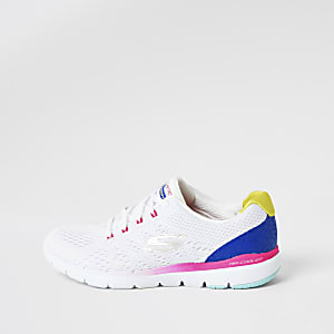 Skechers white Flex Flashy Nite sneakers